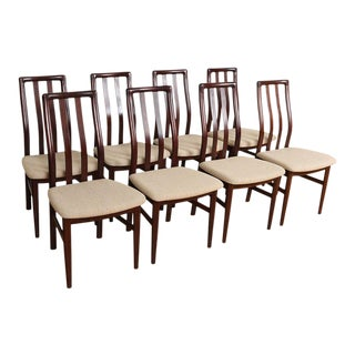 Danish Rosewood Set of 8 Tall Slat Back Dining Chairs For Sale