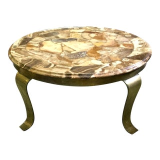 Muller of Mexico Round Onyx and Brass Cocktail Table For Sale