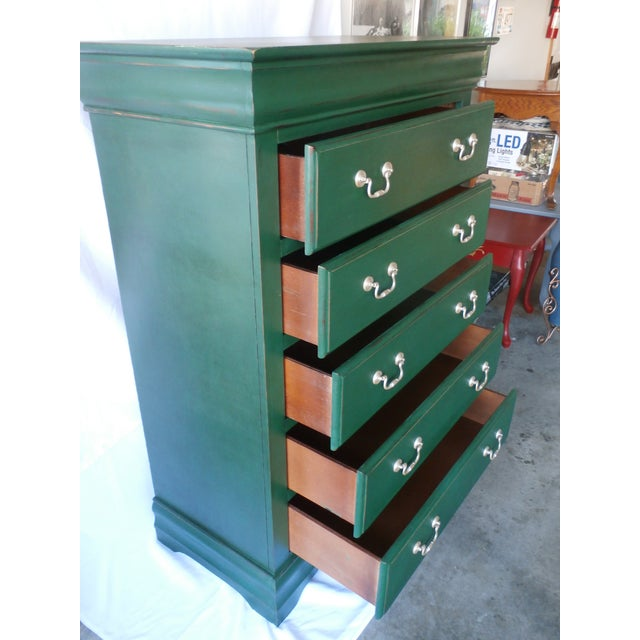 Vintage Hand-Painted Highboy Chest Dresser For Sale In Tampa - Image 6 of 11