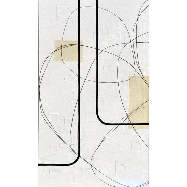 Maura Segal Maura Segal Intersections Gray White Modern Painting 2018 For Sale - Image 4 of 6