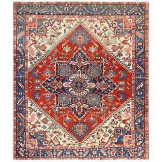 Oriental Persian Antique Serapi Heriz Room Size Rug - 9′6″ × 11′2″ For Sale