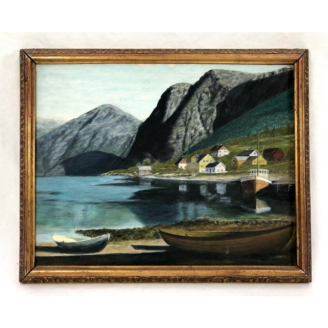 Framed Oil on Board ofSeaside Village With Boats, Signed Jh For Sale - Image 11 of 11