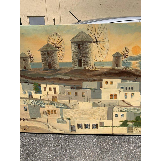Monumental Oil Painting Mykonos Island Greece Signed by G.Tsitsilianos 1986 For Sale - Image 10 of 13