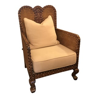 Inlaid Bone and Exotic Wood, Caned Armchair, Hand-Made in India For Sale
