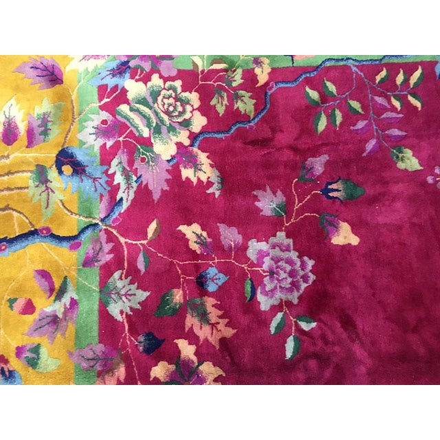 Art Deco 1920s Vintage Nichol Art Deco Chinese Rug - 9′ × 11′4″ For Sale - Image 3 of 8
