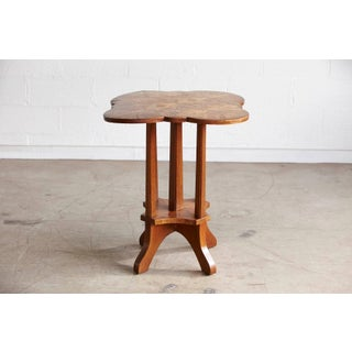 German Biedermeier Clover Top Parquetry Side Table With Starburst Pattern Preview