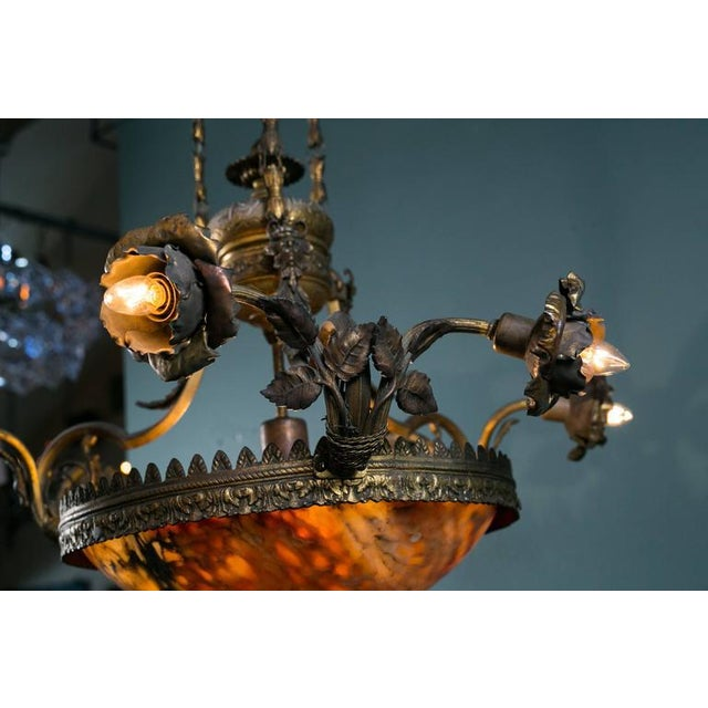 French Art Nouveau Floral Alabaster and Bronze Chandelier For Sale - Image 9 of 9