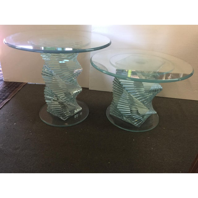 Glass Spiral Side Tables - A Pair - Image 3 of 7