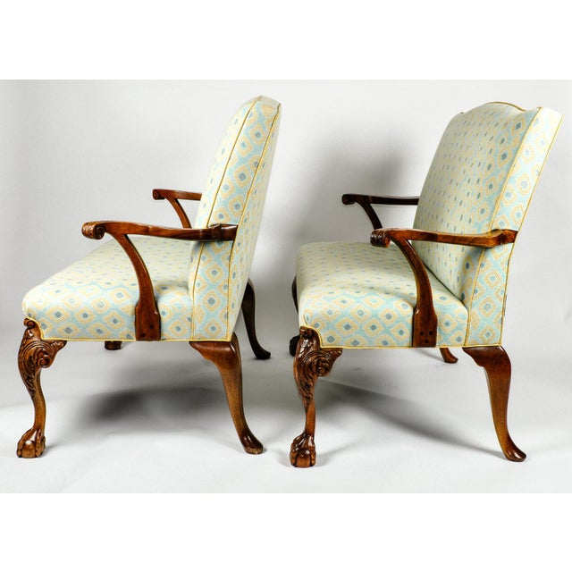 American Classical Antique Camelback Claw Foot Settees For Sale - Image 3 of 12