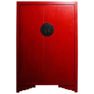 Antique Style Chinese Red Lacquered Liquor Cabinet With Revolving Hidden Panel For Sale