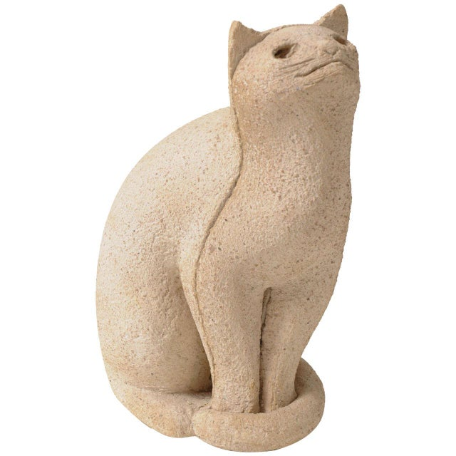"Ceramic Cat Sculpture ""Secrets of the 1970s"" For Sale - Image 7 of 7"