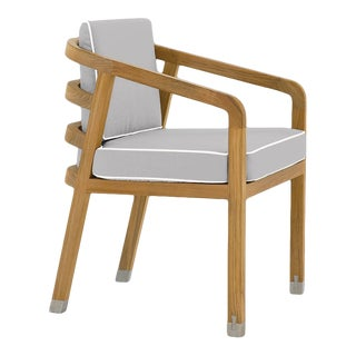 Linley Dining Arm Chair in Fashionable Grey with Nice White Welt For Sale