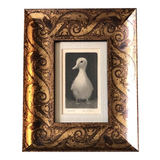 """Small Vintage Original Aquatint Etching """"Duckling"""" by Kenneth J Reeve Ornate Frame For Sale"""