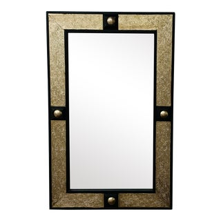 1990s Hollywood Regency Style Moroccan Mirror in Brass and Wood Frame For Sale