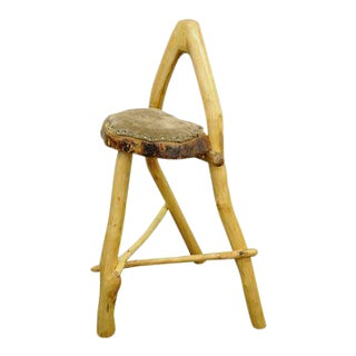 Handmade Robert Powchik Rustic Log Tree Branch Primitive Wishbone Stool Chair For Sale