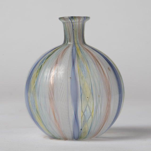 Murano Mid Century Murano Latticino Zanfirico Italian Ribbons Art Glass Bud Vase For Sale - Image 4 of 8