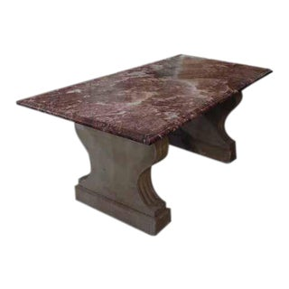 French Marble Top Table With Stone Base For Sale