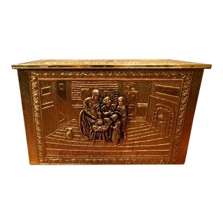 1950s Traditional Brass Firewood Box For Sale