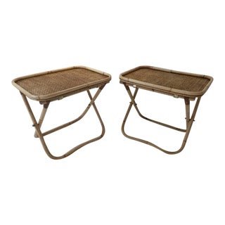 Signed Gabriella Crespi Rattan Collapsible Tray Tables - a Pair