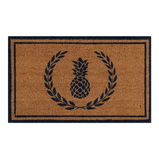 Erin Gates by Momeni Park Pineapple Navy Hand Woven Natural Coir Doormat - 1′6″ × 2′6″