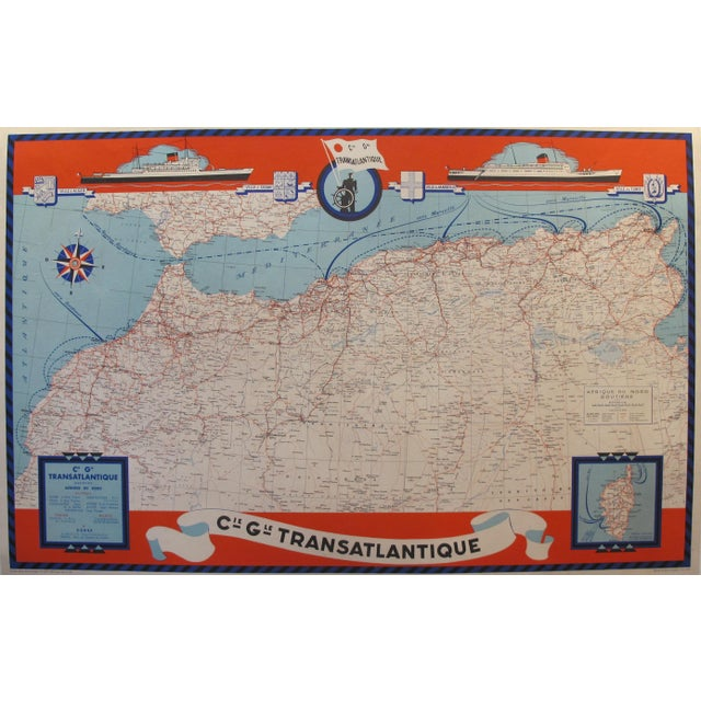This map was created by the Compagnie Generale Tansatlantique (General Transatlantic Company) in collaboration with the...