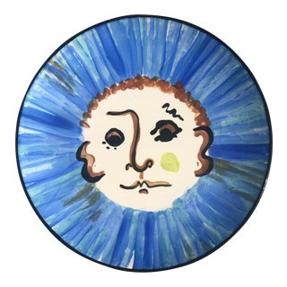 Vintage Hand-Painted, Picasso-Style Platter For Sale