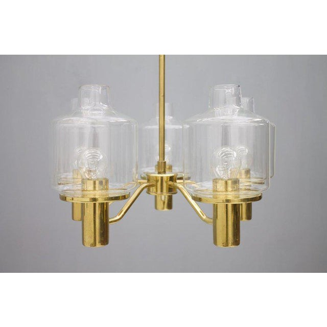 1960s One of Two Brass and Glass Chandelier by Hans-Agne Jakobsson for Ab Markaryd Sweden For Sale - Image 5 of 13