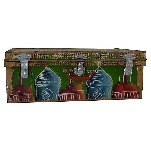 Multicolored painted steel trunk with detailed latch hardware by The Universal Trunk Depot/Factory in Bombay, India. Made...