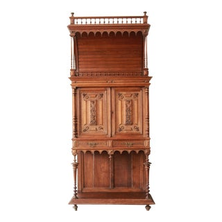 Antique French Carved Oak Tall Bar Cabinet For Sale