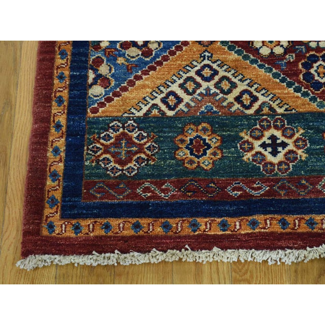 2010s Kazak Khorjin Hand-Knotted Pure Wool Rug For Sale - Image 5 of 13