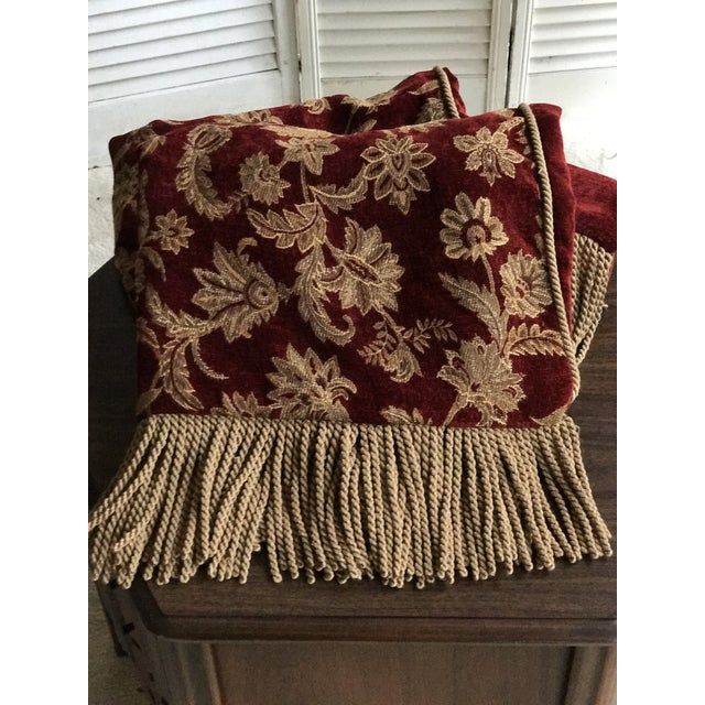 Velvet Floral Red and Gold Throw - Image 8 of 8