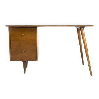 Vintage Mid Century Paul McCobb for Planner Group Tobacco Finish Single Sided Desk For Sale