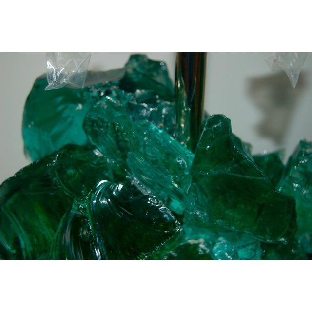 2010s Glass Rock Table Lamps by Swank Lighting Jade Green For Sale - Image 5 of 9