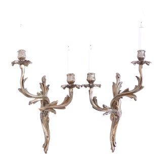 Louis XV Style Polished Brass Sconces - a Pair For Sale