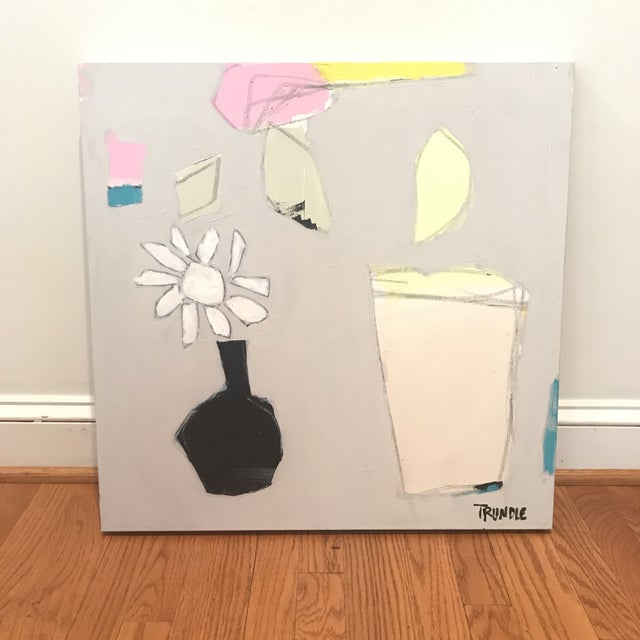 Colorful shapes depict an abstracted floral composition. Acrylic and graphite on canvas, 24 x 24 x 1.5. Please see...