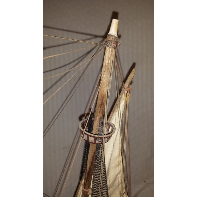 Brown Antique Wooden European Ship Galleon For Sale - Image 8 of 11