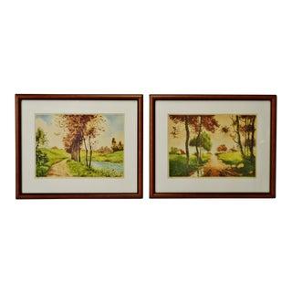 Vintage Framed Paris Etching Society Signed Landscape Prints - a Pair For Sale