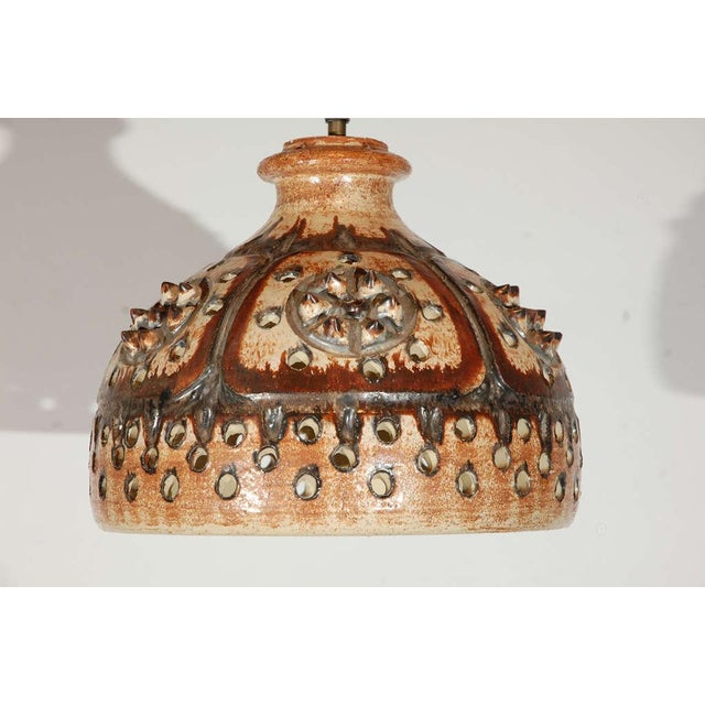 Mid-Century Modern Signed Jette Helleroe Art Pottery Light Fixture For Sale - Image 3 of 8