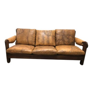 1960s Mid-Century Brazilian Stitched Leather Sofa For Sale
