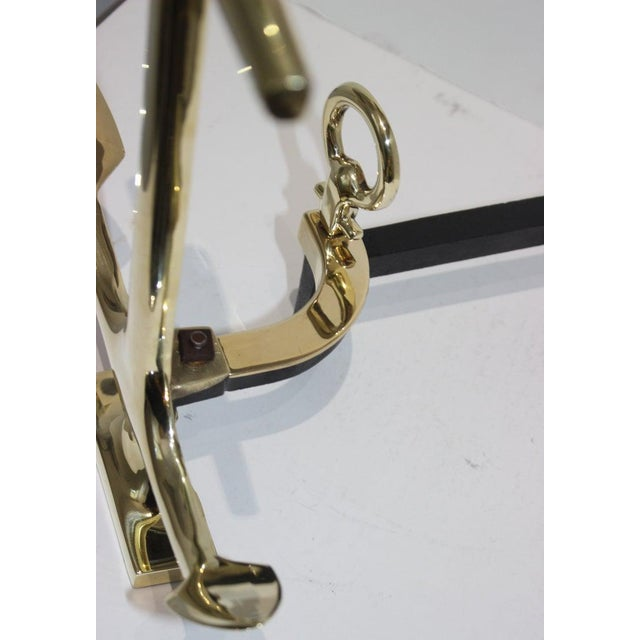 Gold Brass Anchor Form Andirons in the Style of Puritan, the Pair For Sale - Image 8 of 13