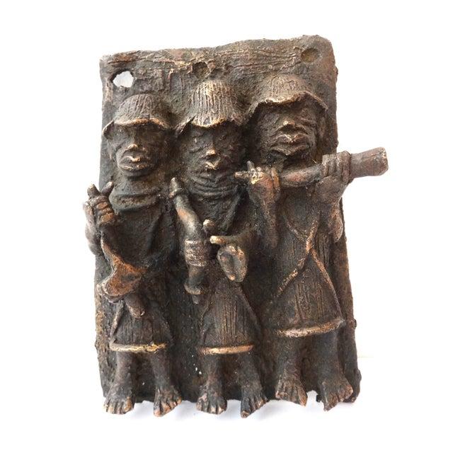 Benin African Bronze Plaque of King with Warriors - Image 1 of 5