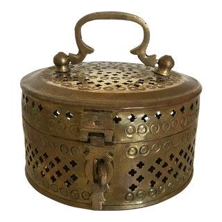 Vintage Mid-Century Round Brass Cricket Box For Sale