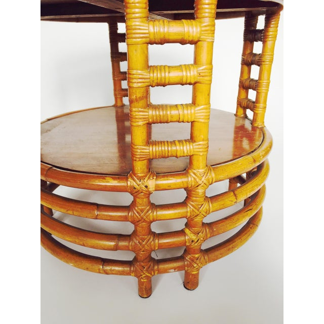Vintage Round Bamboo Rattan Side Table - Image 5 of 5