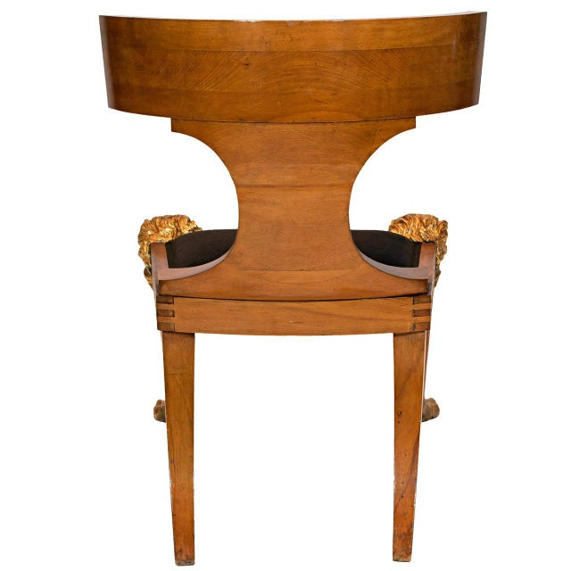 A North European Beech and Parcel-Gilt Klismos Chair with Greek Key Bordered Seat Frame For Sale - Image 4 of 7
