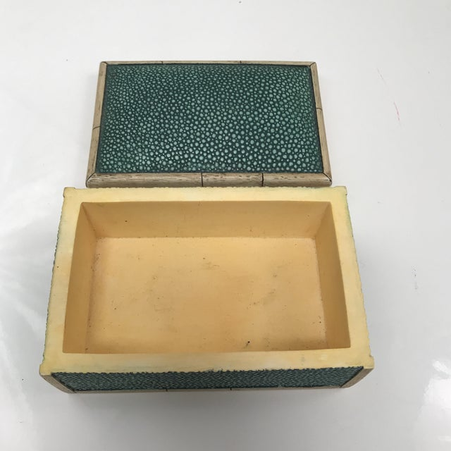Art Deco Ceramic Faux Shagreen Lidded Box For Sale - Image 3 of 7