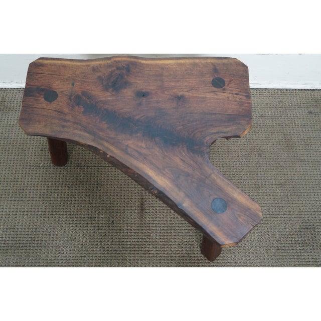 Vintage Walnut Free Form Slab Side Table - Image 7 of 10