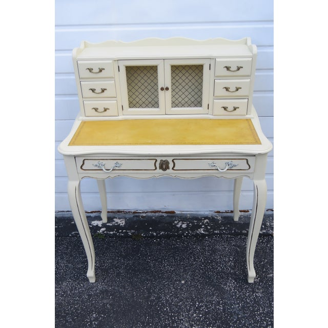 Cream French Painted Leather Top Vanity Writing Desk With Flip Up Mirror 1272 For Sale - Image 8 of 13