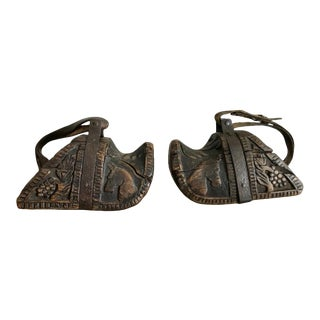 Spanish Colonial Carved Wood and Iron Stirrups - A Pair For Sale