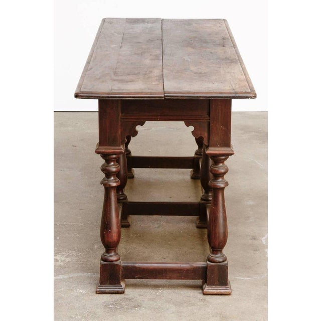 19th Century English Walnut Refectory or Console Table For Sale - Image 4 of 13