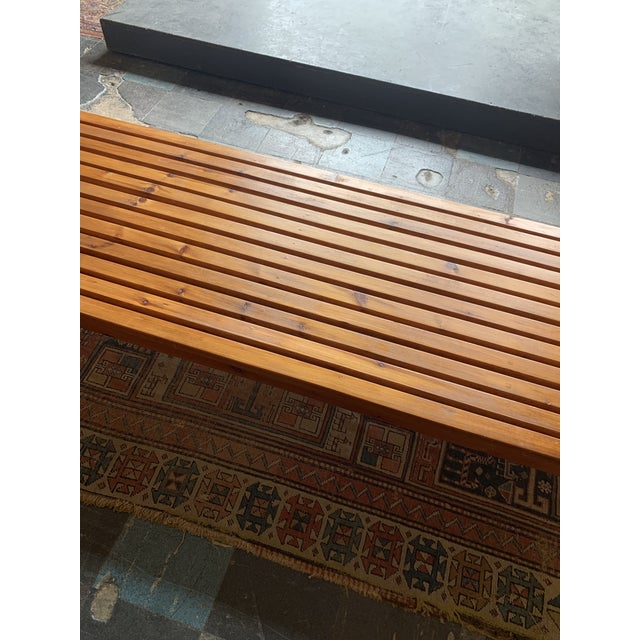 Vintage Mid Century Low Wood Slat Bench For Sale - Image 4 of 6